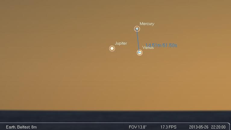 Jupiter, Venus, Mercury 26th May 2013
