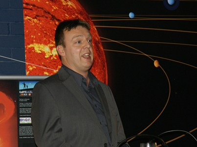 Robert Hill speaking at Armagh Planetarium