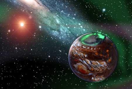 Artist's conception of an exoplanet. Art by Karen Teramura. (c) NASA