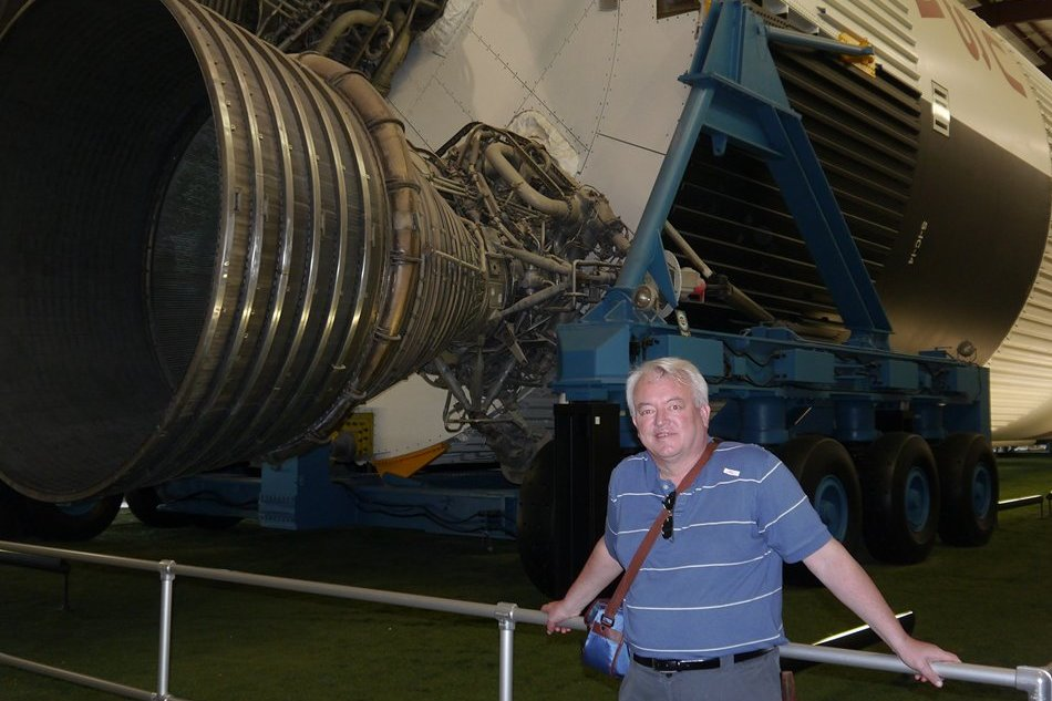 Paul Evans with the Saturn V rocket